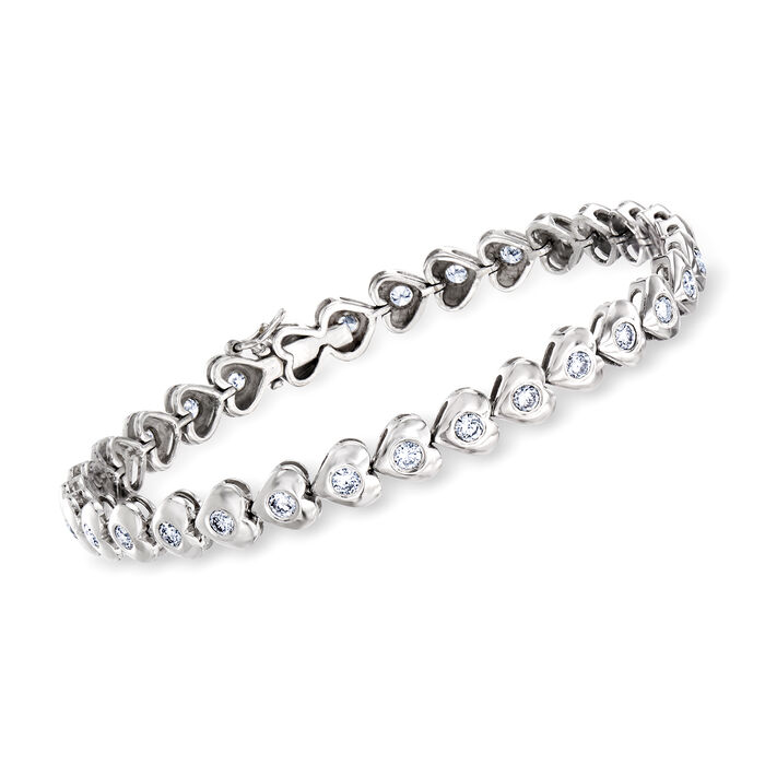"C. 1980 Vintage 1.75 ct. t.w. Diamond Heart Bracelet in 18kt White Gold. 6.5"""
