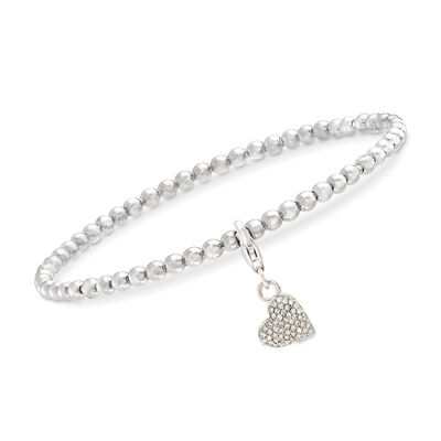 Sterling Silver Bead Stretch Bracelet with .15 ct. t.w. Diamond Heart Charm, , default