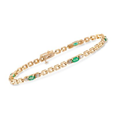 1.20 ct. t.w. Emerald Link Bracelet With Diamonds in 14kt Yellow Gold, , default