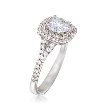 Simon G. .46 ct. t.w. Diamond Double Halo Engagement Ring Setting in 18kt White Gold, , default