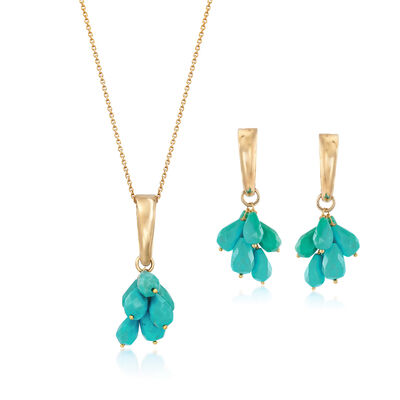 C. 1990 Vintage Reconstituted Turquoise Jewelry Set: Earrings and Pendant Necklace in 14kt Yellow Gold, , default