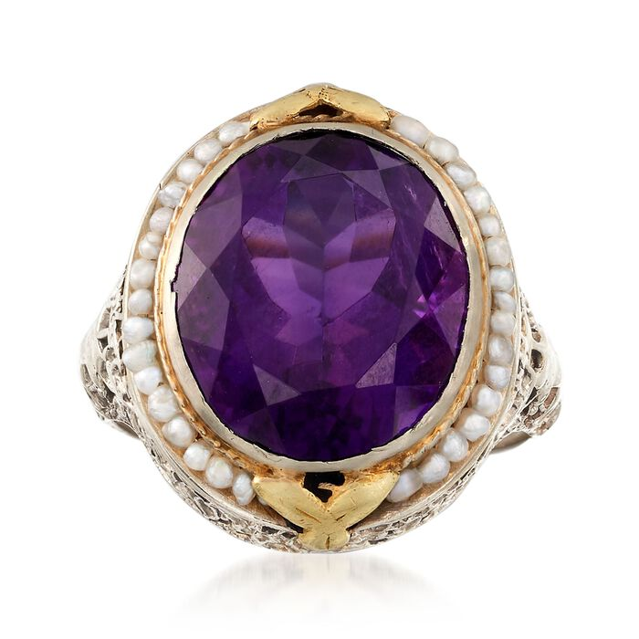 C. 1950 Vintage 7.60 Carat Amethyst and Pearl Ring in 14kt Two-Tone Gold. Size 8.5, , default