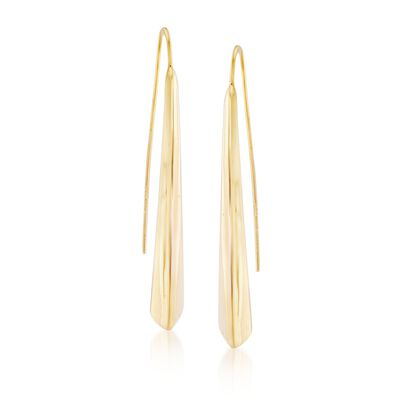 Italian 18kt Yellow Gold Elongated Drop Earrings, , default