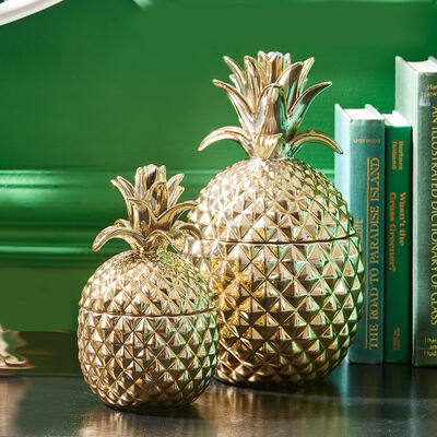Set of Two Golden Ceramic Pineapple Jars, , default