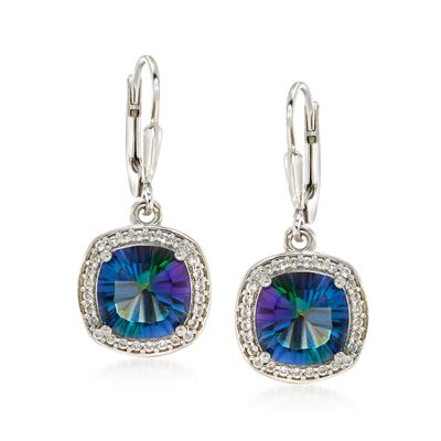 5.00 ct. t.w. Multicolored Blue Quartz and .40 ct. t.w. White Topaz Drop Earrings in Sterling Silver, , default