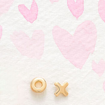 14kt Yellow Gold XO Mismatched Earrings , , default