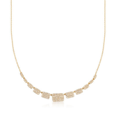 .62 ct. t.w. Pave Diamond Graduated Square Station Necklace in 14kt Yellow Gold, , default