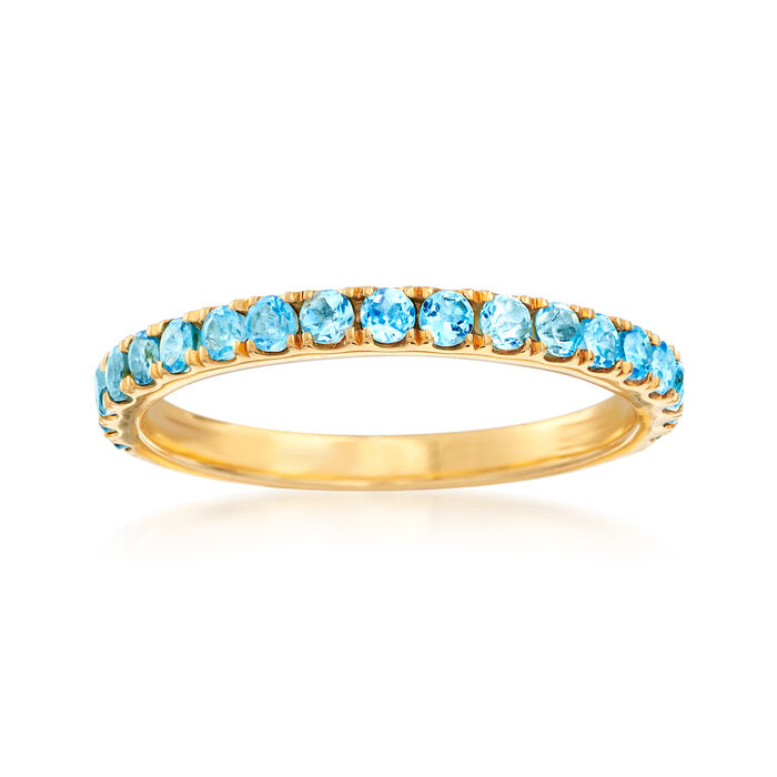 .60 ct. t.w. Swiss Blue Topaz Ring in 18kt Gold Over Sterling