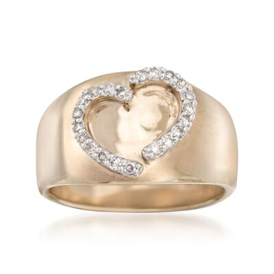.20 ct. t.w. Diamond Heart Ring in 14kt Yellow Gold Over Sterling Silver, , default