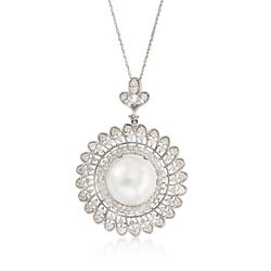 C. 2000 Vintage 13mm Cultured South Sea Pearl and 2.00 ct. t.w. Diamond Pendant Necklace in 14kt White Gold, , default