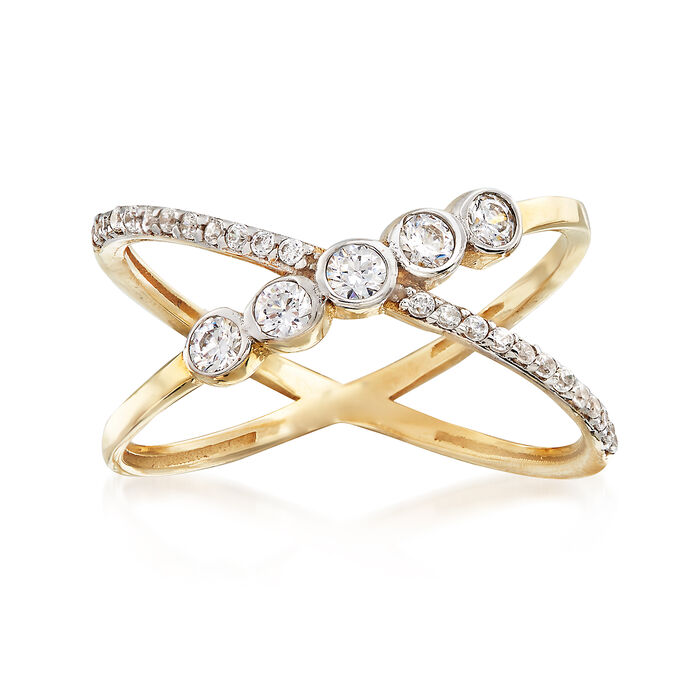 .35 ct. t.w. CZ Crisscross Ring in 14kt Two-Tone Gold, , default