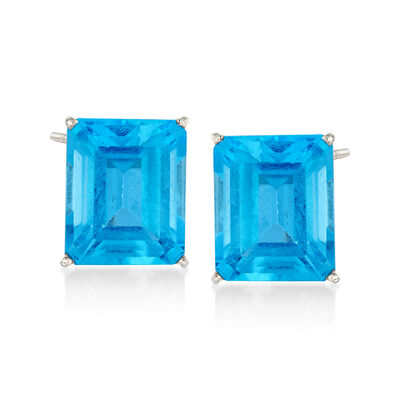 15.00 ct. t.w. Blue Topaz Stud Earrings in 14kt White Gold, , default
