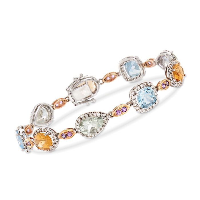 """C. 1990 Vintage 17.20 ct. t.w. Multi-Stone and 1.69 ct. t.w. Diamond Bracelet in 18kt White Gold. 6.75"""", , default"""