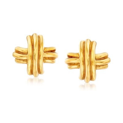 C. 1980 Vintage Tiffany Jewelry 18kt Yellow Gold X Earrings, , default