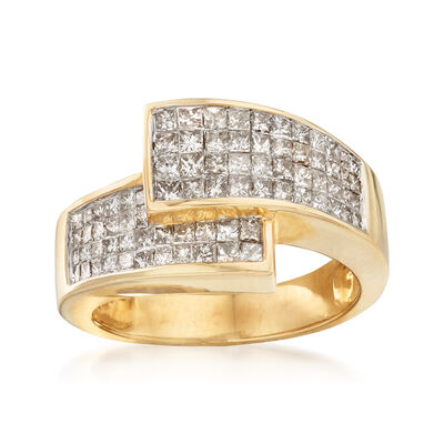 C. 1980 Vintage 1.55 ct. t.w. Diamond Crossover Ring in 14kt Yellow Gold, , default