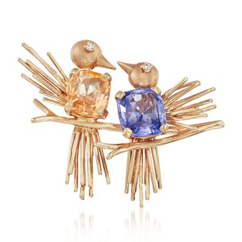 C. 1980 Vintage 7.10 ct. t.w. Yellow and Blue Sapphire Bird Pin With Diamonds in 14kt Yellow Gold, , default