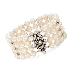 "C. 1970 Vintage 6.5-7mm Cultured Pearl and 1.90 ct. t.w. Diamond Bracelet in 14kt White Gold. 6.5"", , default"