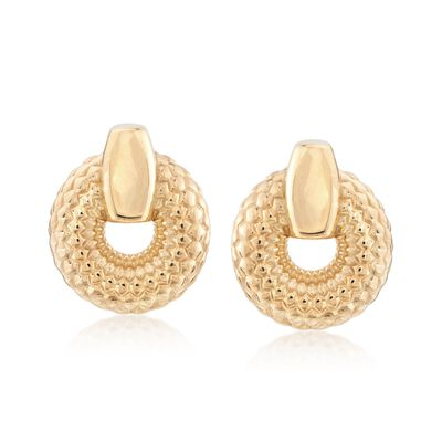 Italian 18kt Gold Over Sterling Silver Patterned Doorknocker Earrings, , default