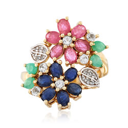 3.60 ct. t.w. Multi-Stone Flower Cluster Ring in 14kt Gold Over Sterling, , default