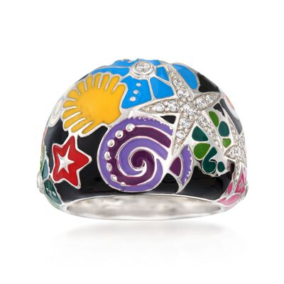 "Belle Etoile ""Starfish"" Black and Multicolored Enamel Ring with CZs in Sterling Silver"