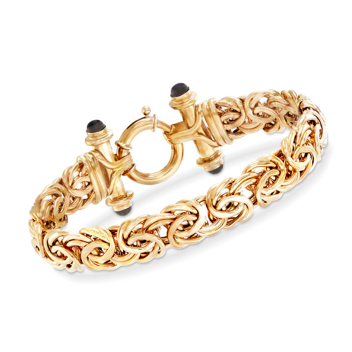 14kt Yellow Gold Byzantine Bracelet with Black Onyx