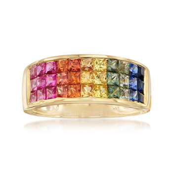 2.20 ct. t.w. Multicolored Sapphire Band Ring in 14kt Yellow Gold, , default