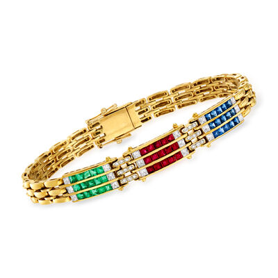 C. 1980 Vintage 3.60 ct. t.w. Multi-Gem and 1.00 ct. t.w. Diamond Bracelet in 18kt Yellow Gold, , default