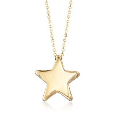Italian 14kt Yellow Gold Star Necklace, , default