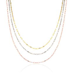 "14kt Tri-Colored Gold Layered Mariner Chain Necklace. 18"", , default"