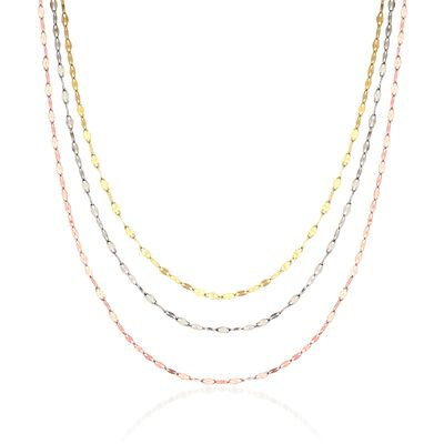 14kt Tri-Colored Gold Layered Mariner Chain Necklace, , default