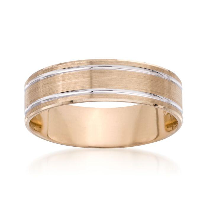 Men's 6mm 14kt Two-Tone Gold Wedding Ring, , default