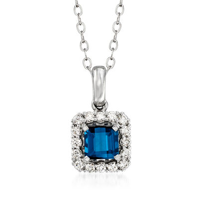 C. 1990 Vintage .76 Carat Blue Tourmaline and .24 ct. t.w. Diamond Pendant Necklace in 14kt White Gold