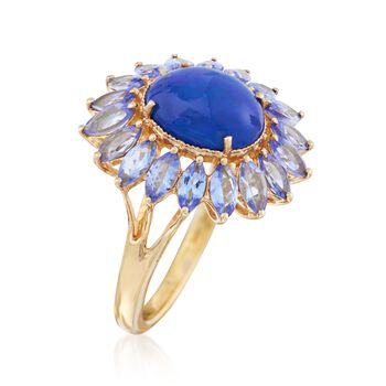 Blue Opal and 2.70 ct. t.w. Tanzanite Floral Ring in 18kt Gold Over Sterling, , default