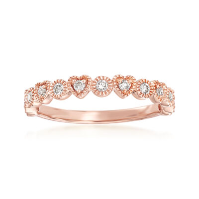 .25 ct. t.w. Diamond Heart and Circle Band in 14kt Rose Gold
