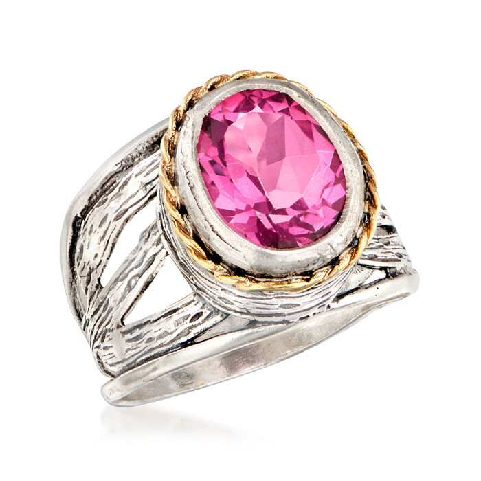 5.00 Carat Pink Topaz Ring in Sterling Silver and 14kt Yellow Gold