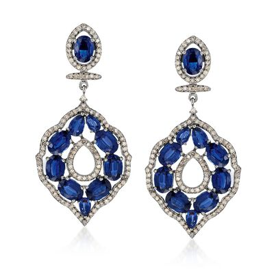 16.40 ct. t.w. Kyanite and 1.98 ct. t.w. Champagne Diamond Open Drop Earrings in Sterling Silver