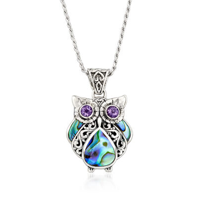 Black Abalone Shell Owl Pendant Necklace with .40 ct. t.w. Amethysts in Sterling Silver