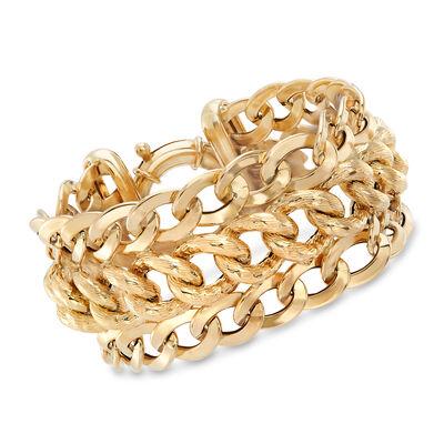 Italian 14kt Yellow Gold Three-Row Oval-Link Bracelet, , default