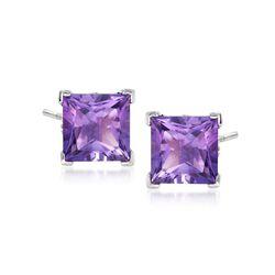 3.50 ct. t.w. Princess-Cut Amethyst Stud Earrings in Sterling Silver , , default