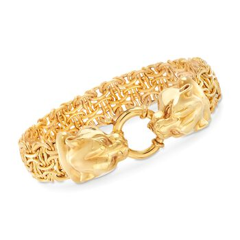 Italian 14kt Yellow Gold Double Panther Head Link Bracelet, , default