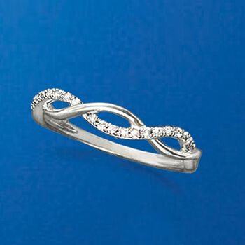 .10 ct. t.w. Diamond Wave Ring in Sterling Silver, , default