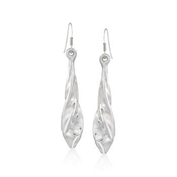 "Sterling Silver Spiral Drop Earrings. 2 1/2"", , default"