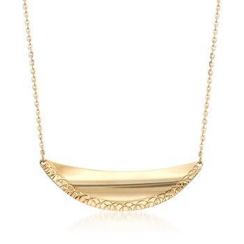 Italian 14kt Yellow Gold Crescent Necklace, , default