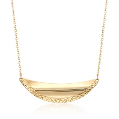 Italian 14kt Yellow Gold Crescent Necklace, , default