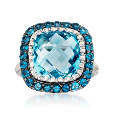 8.90 ct. t.w. Sky and London Blue Topaz Ring in Sterling Silver
