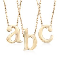 14kt Yellow Gold Over Sterling Silver Initial Slide Pendant Necklace, , default