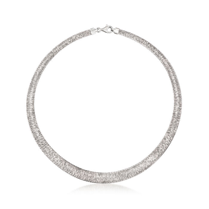 Italian Sterling Silver Graduated Collar Necklace, , default