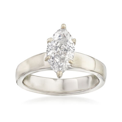 C. 1960 Vintage 1.50 Carat Marquise-Cut Diamond Solitaire Ring in 14kt White Gold, , default