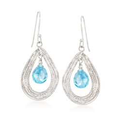 7.25 ct. t.w. Blue Topaz Teardrop Earrings in Sterling Silver, , default