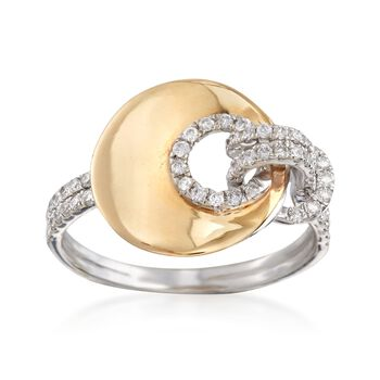 .40 ct. t.w. Pave Diamond Knotted Disc Ring in 14kt Two-Tone Gold, , default